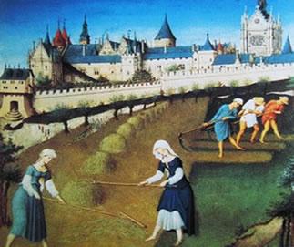 Pintura que retrata a vida na Idade Média