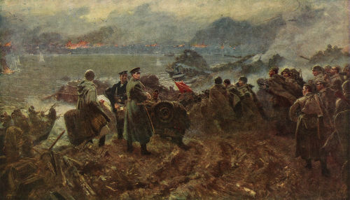 Pintura retratando a Batalha de Stalingrado