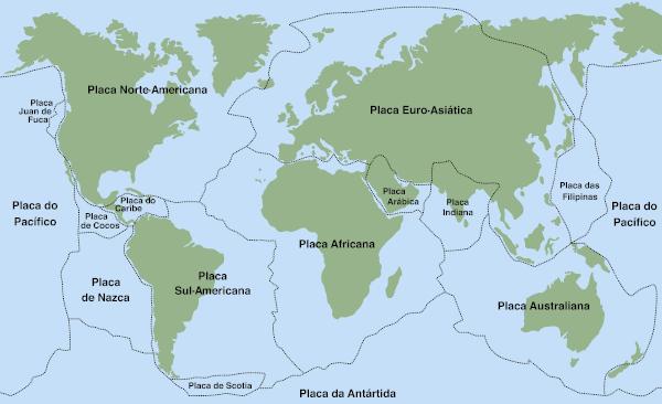 O mundo é dividido em 52 placas tectônicas, sendo 14 principais e 38 menores.