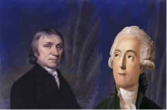Priestley (à esquerda) e Lavoisier (à direita) fizeram experimentos notáveis que levaram à descoberta do oxigênio