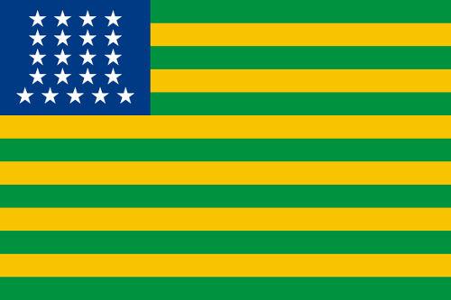 Primeira bandeira republicana, que imitava o modelo dos EUA