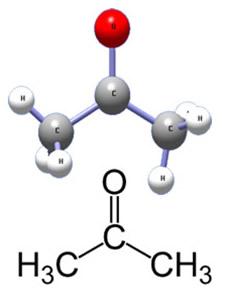 Estrutura da propanona (acetona