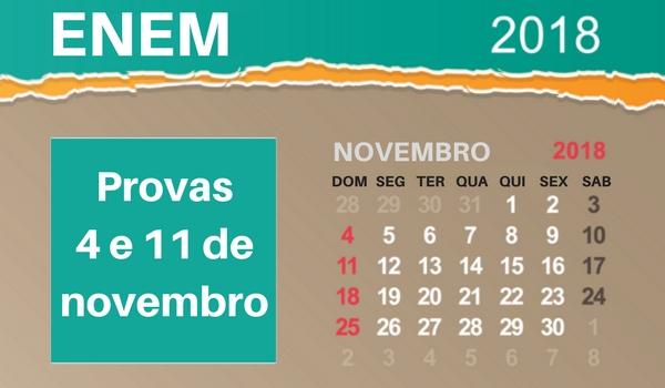 Provas do Enem 2018 serão nos dias 4 e 11 de novembro