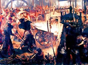 Quadro alemão do século XIX retratando o processo de laminação do ferro.