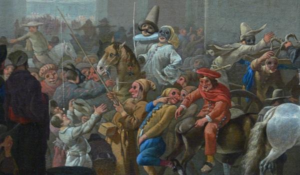 Quadro de Johannes Lingelbach (1622-1674), Carnaval em Roma, exemplo de um carnaval da Commedia Dell'arte