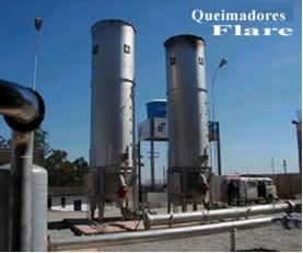 Queimadores Flare usados para transformar o metano em gás carbônico