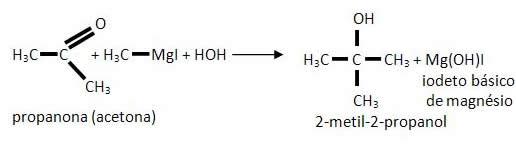 Reação de Guignard com cetona para a obtenção de um álcool terciário