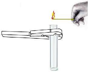 Depois de retirar a rolha do tubo, aproxima-se um palito de fósforo aceso da boca desse tubo