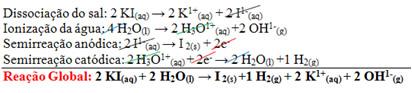 Reação global de eletrólise do iodeto de potássio