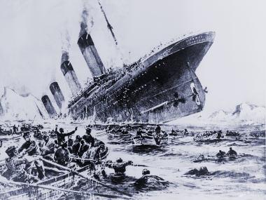 Representação artística do naufrágio do Titanic, ocorrido em abril de 1912