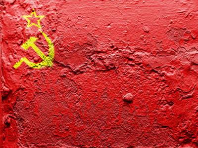 Representação da bandeira da URSS, um dos principais símbolos da Revolução Russa