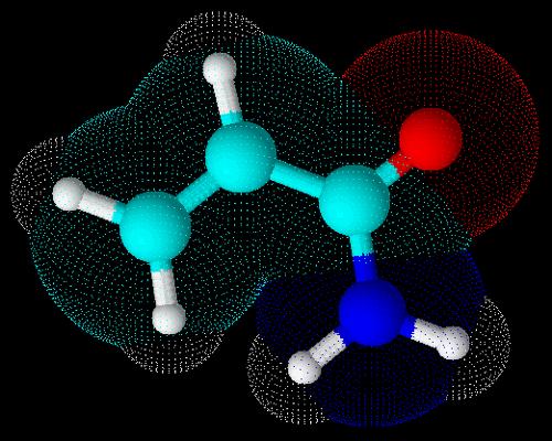 Representação em 3D da molécula da acrilamida