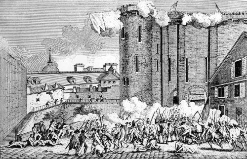 Representação da população parisiense realizando a tomada da Bastilha em 14 de julho de 1789
