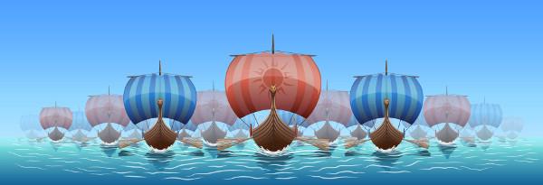 Representação de um modelo padrão das embarcações utilizadas pelos normandos durante o século IX