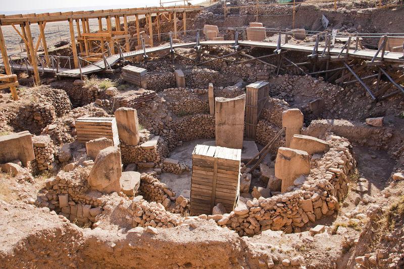 Resquícios de um santuário do período Neolítico em Sanliurfa, na Turquia