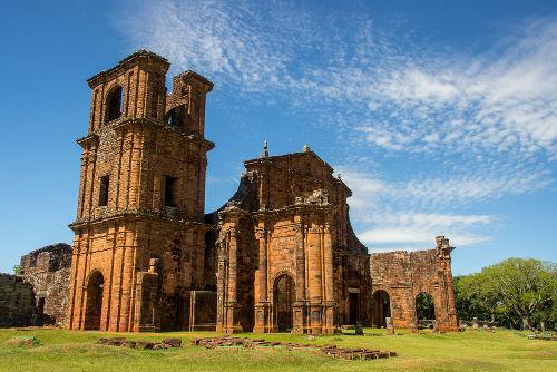 Ruínas de uma missão jesuítica chamada São Miguel das Missões, localizada no Rio Grande do Sul