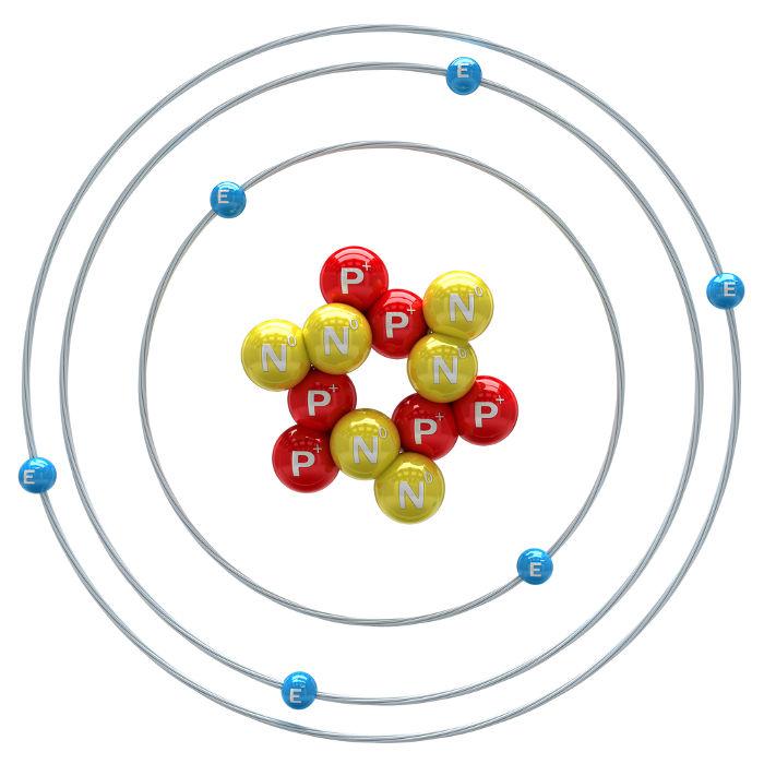 Sabemos que o átomo é o carbono, pois ele possui 6 prótons, que é o número atômico desse elemento