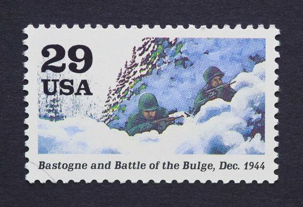 Selo americano em homenagem à Batalha das Ardenas, travada entre dezembro de 1944 e janeiro de 1945*