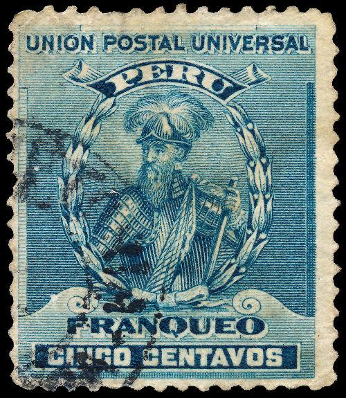 Selo peruano retrata o conquistador espanhol Francisco Pizarro *