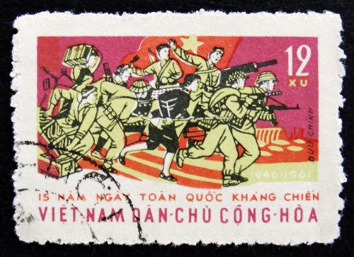 Selo vietnamita de 1961 celebrando os 15 anos do início da Guerra da Indochina *