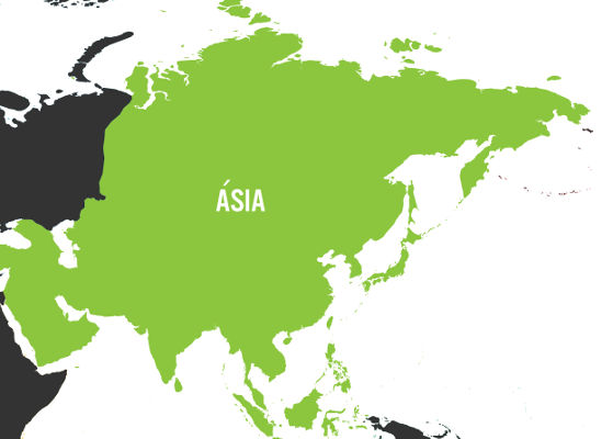 A Ásia é o maior continente em extensão territorial do mundo.