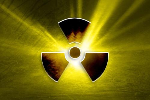 Símbolo utilizado para sinalizar o reservatório de um elemento radioativo.