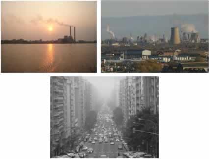 Fumaça das chaminés das indústrias e dos carros causando poluição do ar