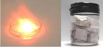 Sódio metálico reagindo com a água e guardado em querosene