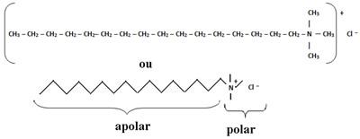 Composição do tensoativo catiônico dos condicionadores, o cloreto de hexadeciltrimetilamônio