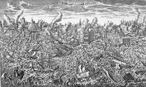 Em 1º de novembro, um terremoto de até 9 graus na escala Richter destruiu Lisboa e calcula-se que cerca de 10 mil edifícios tenham desabado.*