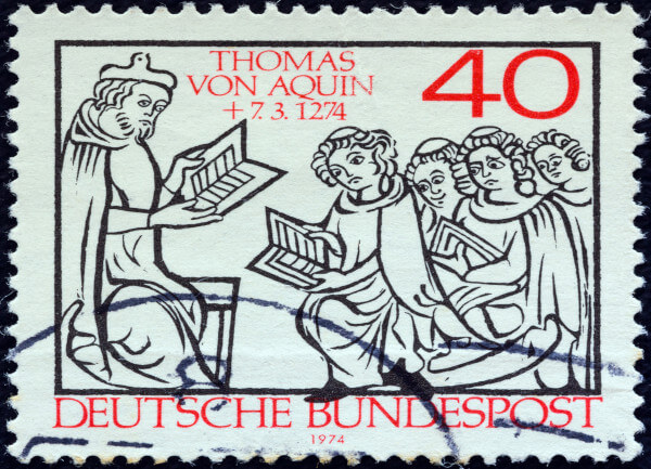 Selo impresso na Alemanha para a ocasião dos 700 anos de morte de São Tomás de Aquino.