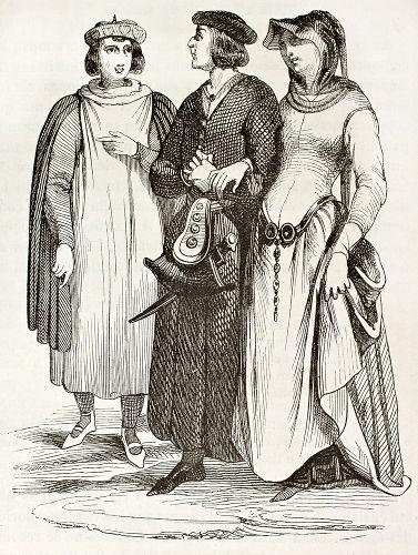 Trajes típicos da burguesia medieval francesa