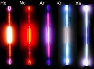 Gases nobres em tubo de descarga de gases.