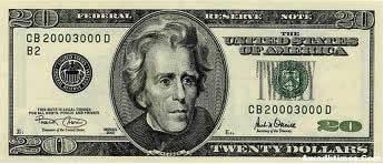 Nota americana de vinte dólares