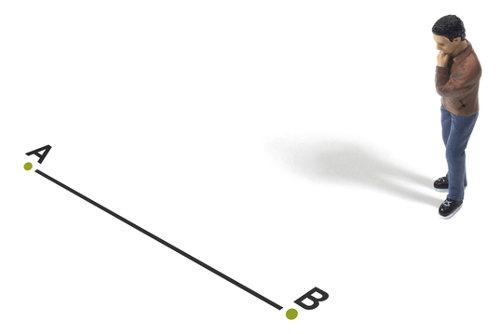 Um segmento de reta, como AB, pode ser usado para determinar a localização de um ponto na reta numérica