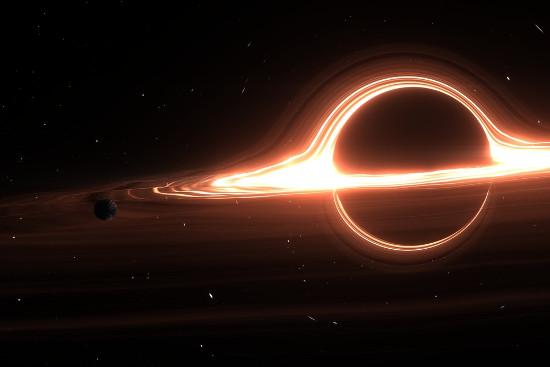 Uma das concepções artísticas possivelmente mais próximas de um buraco negro real foi apresentada no filme Interestelar, de Christopher Nolan
