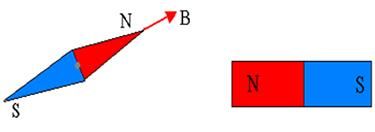 O polo norte da agulha magnética indica a direção e o sentido do vetor campo magnético no ponto considerado