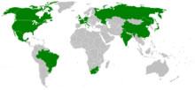 Em destaque no mapa, os países que entegram o G8+5