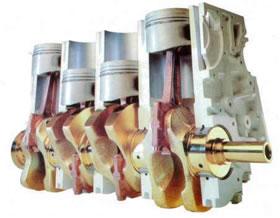 Corte longitudinal de um motor movido a combustão