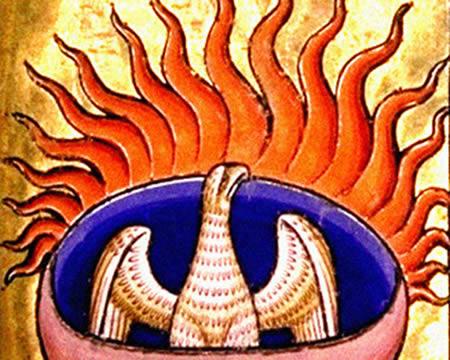 O renascimento da Fênix representado em um bestiário medieval britânico