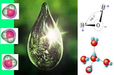O arranjo molecular entre os átomos e as forças de atração entre as moléculas de água (pontes de hidrogênio)