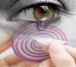 Proteja os olhos do gás volátil da cebola.