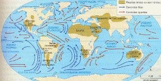 Principais rotas das correntes marítimas
