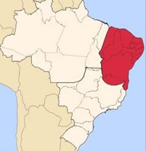 Em destaque, a região do complexo regional do Nordeste