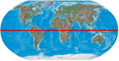 mapa mundi linha do equador Linha do Equador. Linha do Equador e o globo terrestre   Brasil Escola mapa mundi linha do equador