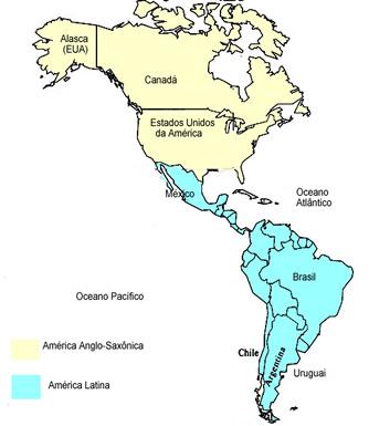 Mapa que divide o continente americano em: América Latina e Anglo-Saxônica