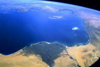 Mar Mediterrâneo visto do espaço.