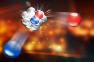 Núcleo atômico formado por prótons e nêutrons.