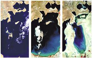 A diminuição progressiva do Mar de Aral