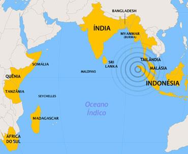 Localização do Oceano Índico